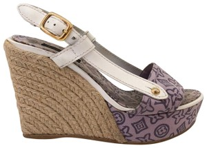 Louis Vuitton Espadrille Monogram Logo Purple. White Wedges