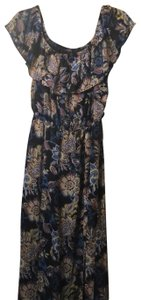 navy blue printed (yellow,brown white, blue) Maxi Dress by Sequin Hearts