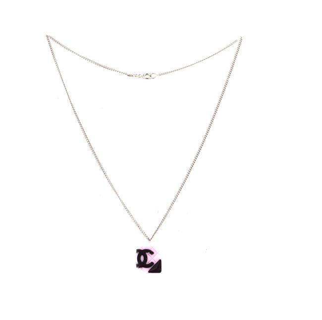 Item - #32579 Gold Pink Cambon Rare Cc Quilted Charm Resin Chain Necklace