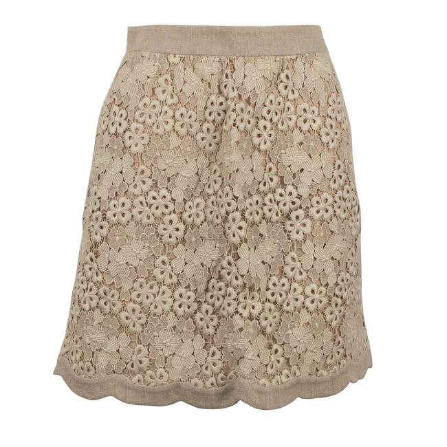 Valentino Beige Floral Laced and Scalloped Skirt Size 4 (S, 27) Valentino Beige Floral Laced and Scalloped Skirt Size 4 (S, 27) Image 1