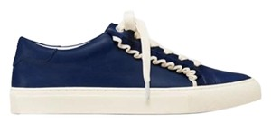 Tory Burch Ruffle Leather Sneakers Sport White/Navy Athletic