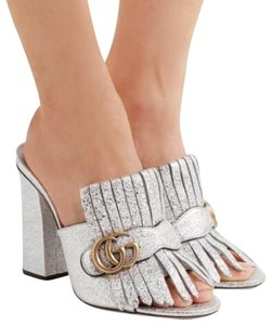 Gucci Blogger Metallic Open Toe Gg Silver Mules