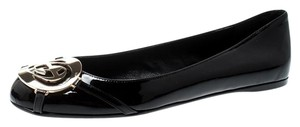 Gucci Patent Leather Metallic Ballet Black Flats