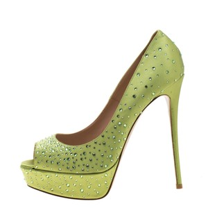Valentino Crystal Platform Peep Toe Green Pumps