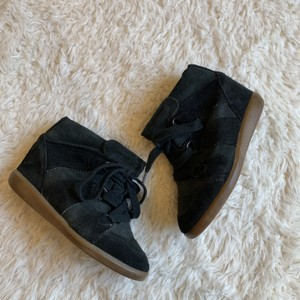 Isabel Marant Suede Lace Up Sneaker Green Wedges