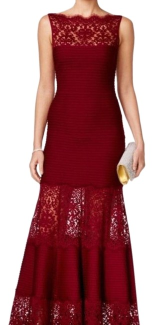 Item - Red Lace Illusion Mermaid Long Formal Dress Size 22 (Plus 2x)
