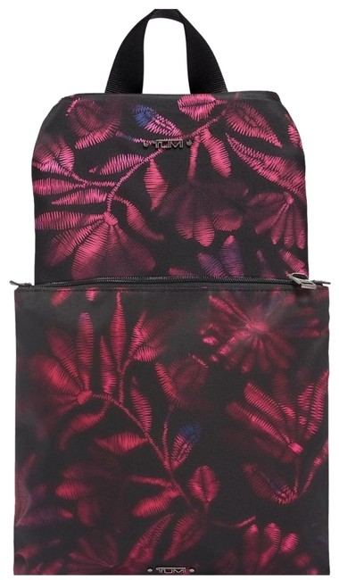 Item - New 2pcs Packable Foldable Floral Travel + Pouch Black Nylon Backpack