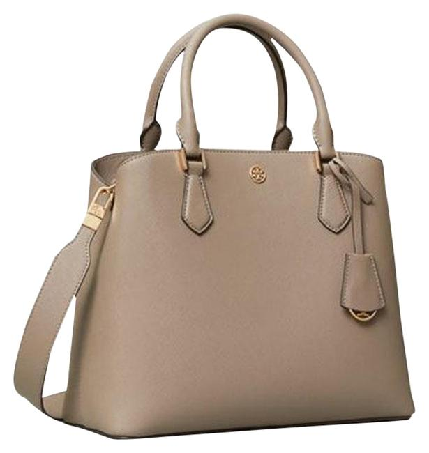 Item - Robinson Triple Compartment Gray Heron Leather Tote