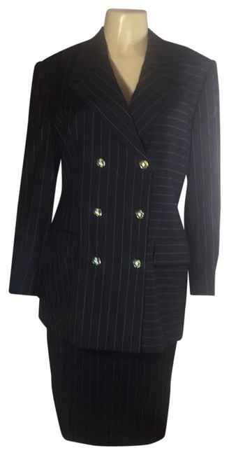 Item - Black and Gold Stripe Power Evening Swarovski Crystals Embellished Skirt Suit Size 12 (L)