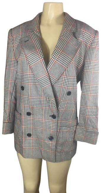 Item - Red White Black Gray Plaid Long Double Breasted Jacket Blazer Size 12 (L)
