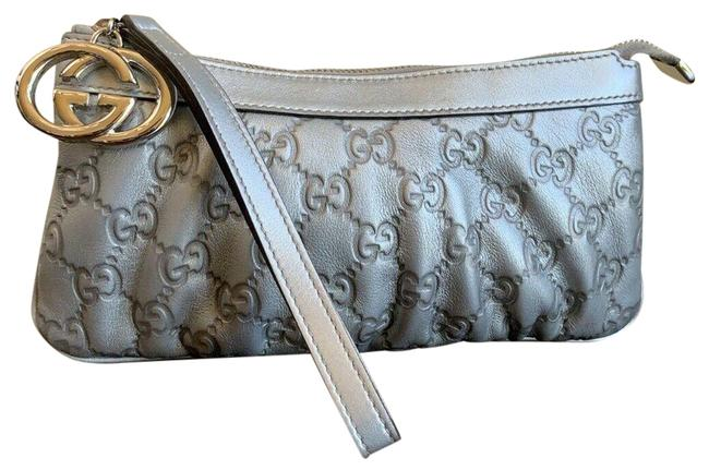 Item - Metallic ssima Interlocking Pochette Silver Gg Leather Wristlet