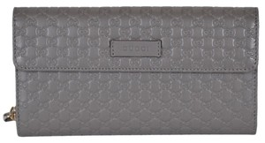 Gucci Grey New Women's 449396 Leather Micro Gg Continental Wallet