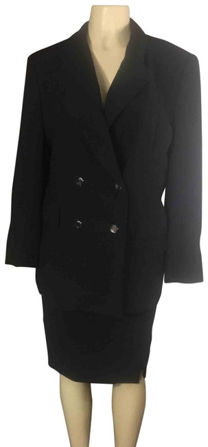 Item - Black Power Double Breasted Skirt Suit Size 12 (L)