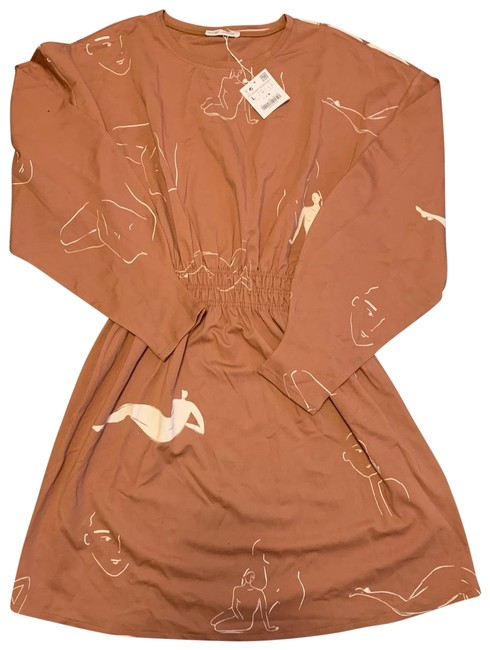 Item - Brown Naked Mid-length Short Casual Dress Size 12 (L)