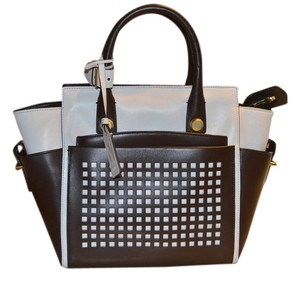 Reed Krakoff Atlantique Mini Perforated Tote Bag Tote in White and Chocolate