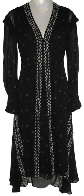Item - Black Silk High-low Mid-length Night Out Dress Size 6 (S)