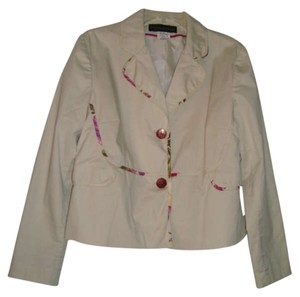 Harvé Benard Lined Floral Trim Beige Jacket