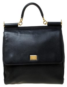 Dolce&Gabbana Leather Fabric Tote in Black