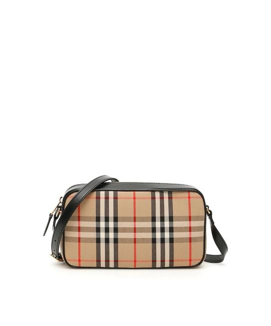 Item - Camera Cr New Vintage Check Beige Black Cotton Cross Body Bag
