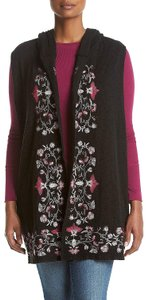 Democracy Embroidered Floral Open Front Knit Pockets Vest