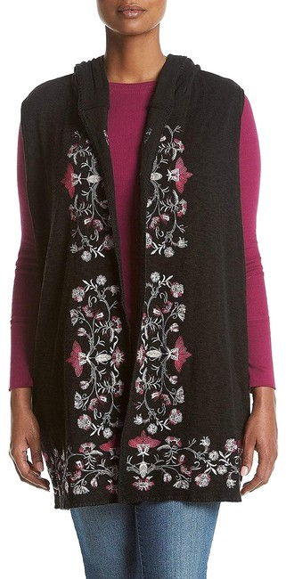 Item - Black Floral Embroidered Sweater Hoodie Vest Size 0 (XS)