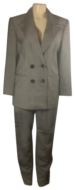 Item - Taupe and Gray Stripe Power Double Breasted Pant Suit Size 12 (L)