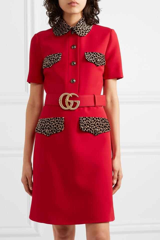 Gucci Red Gr Leopard Print Trim Belted Mid Length Work Office Dress Size 6 S