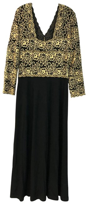 Item - Gold/Black L Embroidered Mesh Bodice Stretch Mother Of The Bride Long Cocktail Dress Size 14 (L)