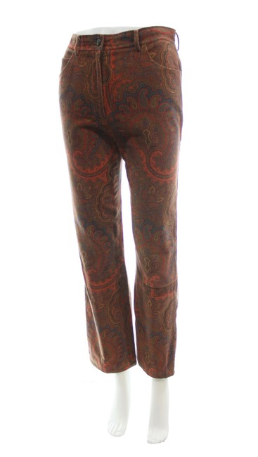 Item - Orange Vintage Paisley Velvet Straight Leg Pants Size 4 (S, 27)