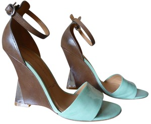 Belle by Sigerson Morrison Wedge Leather Patent Leather aqua (mint / beryl) and birch brown Wedges