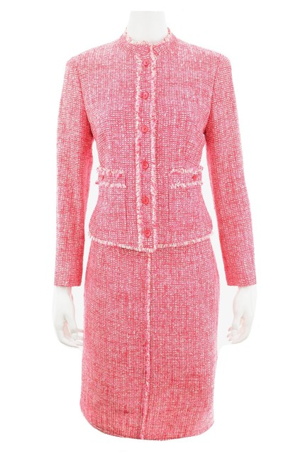 Item - Pink Red White & Tweed Skirt Suit Size 8 (M)