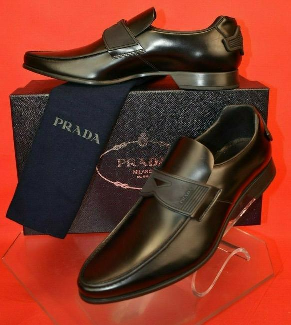 Item - Black Polished Leather Lettering Logo Rubber Penny Loafers 6.5 /Us 7.5 Shoes