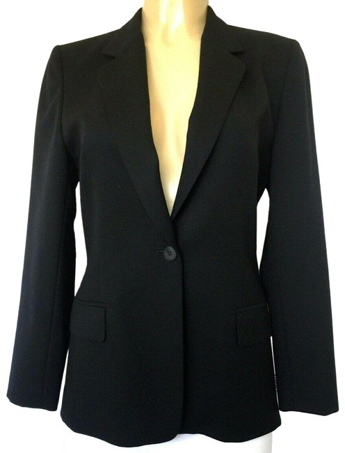 Item - Black Jacket Notch Lapel One Button Wool Blazer Size 6 (S)