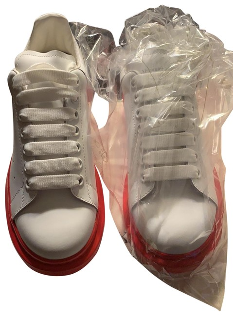 Item - White/Lust Red Platform Leather Sneakers Size EU 39 (Approx. US 9) Regular (M, B)