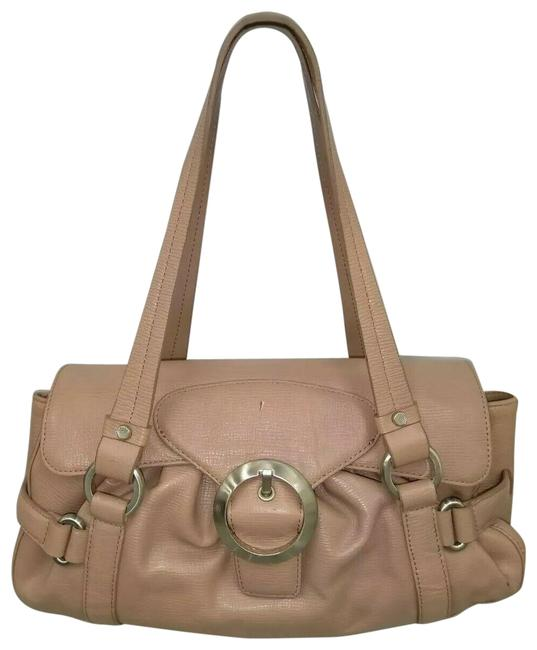 Item - W Pink-nude Small Satchel Handbag W/ Flap Closure Nude Leather Shoulder Bag