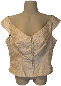 Watters & Watters Bridal Silk Wedding Beaded Pearl Top ivory