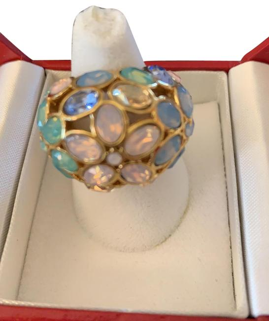 Coach Multi Colored Stones Gold Colored Metal Flower 60's Style Ring Coach Multi Colored Stones Gold Colored Metal Flower 60's Style Ring Image 1