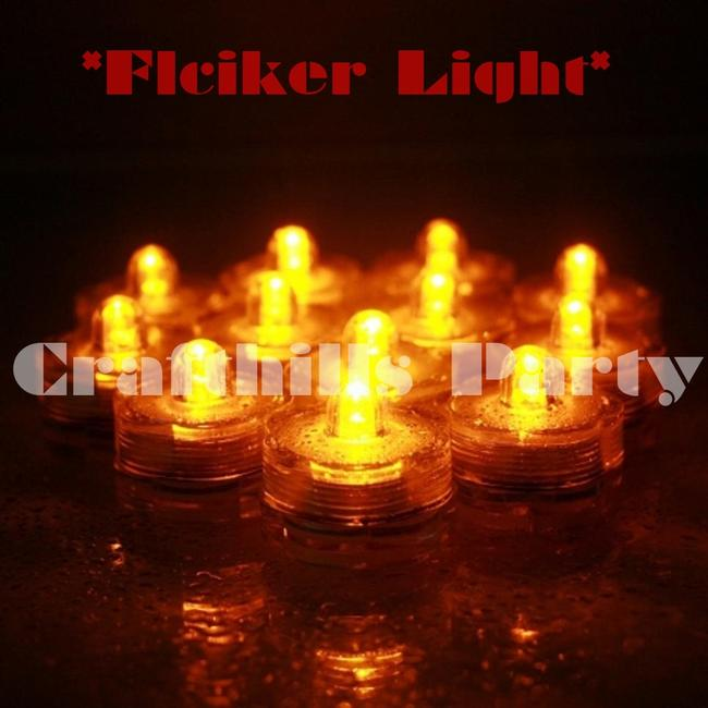 Item - Flicker Yellow / Amber 24pcs Led Submersible Waterproof Party Centerpiece Light
