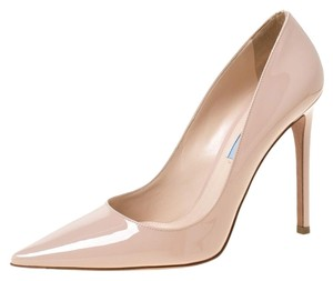 Prada Patent Leather Pointed Toe Beige Pumps