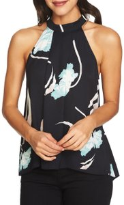 1.STATE Floral Pleated Sleeveless Keyhole Silky Black Halter Top