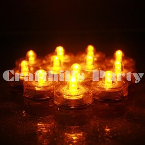 Amber / Yellow / 48 Pcs Led Submersible Waterproof Tea Light Votive/Candle