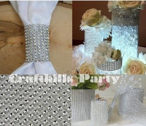 "Silver New 4.75"" X 10yards Diamond Mesh Wrap Roll Sparkle Rhinestone Decoration"