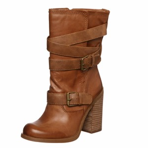 Jessica Simpson Leather Buckle Round Toe Tan Boots