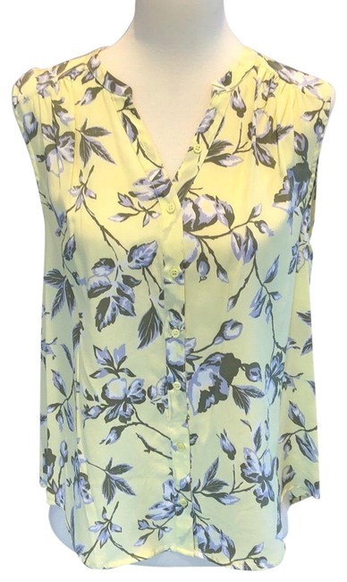 Item - Yellow and Pale Purple Silk Floral Sleeveless V Neck Blouse Size 8 (M)