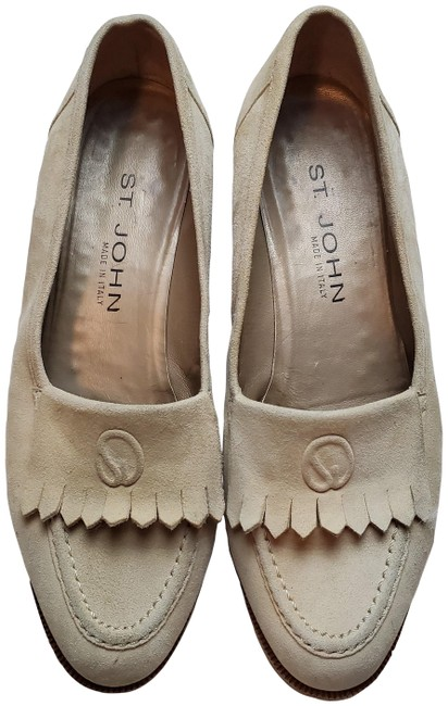 Item - Beige W Suede Frill Accents Formal Shoes Size US 7.5 Regular (M, B)