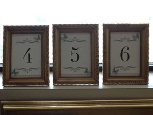 Table Numbers In Gold Frames