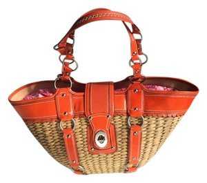 Coach Straw & Orange Leather Beach Bag