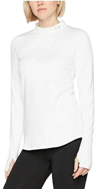 Under Armour White Fitted Mock Neck Activewear Top Size 12 (L) Under Armour White Fitted Mock Neck Activewear Top Size 12 (L) Image 1