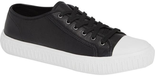 Item - Black Nod Leather with Rubber Cap Toe Sneakers Size US 8 Regular (M, B)