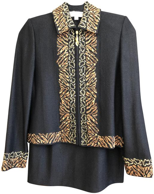 Item - Black Brown Tan W Collection Shimmer Jacket W/Brown Embroidery Skirt Suit Size 4 (S)